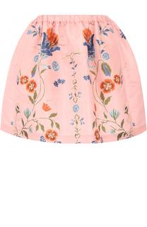 Мини-юбка с эластичным поясом и цветочным принтом REDVALENTINO
