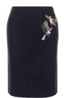 Шерстяная юбка с вышивкой Markus Lupfer
