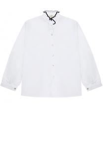 Хлопковая блуза с контрастной отделкой и воротником-стойкой Caf