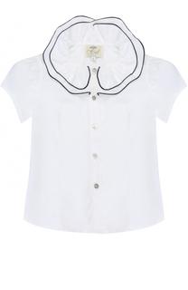 Хлопковая блуза с декоративным воротником и контрастной отделкой Caf