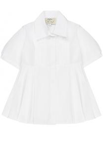 Хлопковая блуза с защипами и поясом Caf