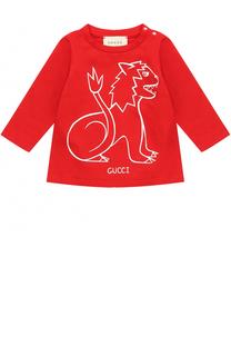 Хлопковый лонгслив с принтом Gucci
