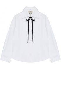 Хлопковая блуза с воротником аскот и бантом Caf