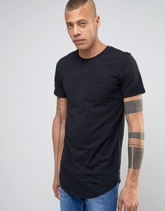 Длинная хлопковая футболка с карманом Produkt - Черный