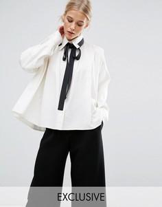 Рубашка со складками и контрастной завязкой ZACRO - Белый