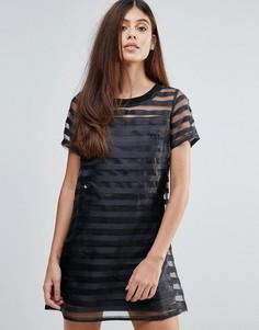 Платье из органзы с прозрачными полосками Zibi London - Черный