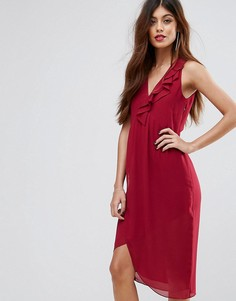 Платье миди с оборкой Sisley - Розовый