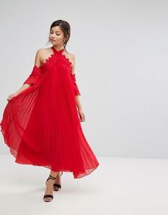 Плиссированное свободное платье с открытыми плечами True Decadence - Красный