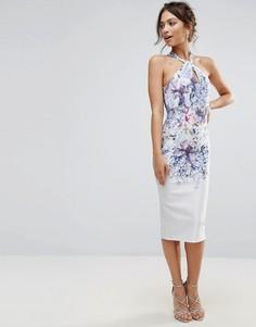 Платье-футляр с принтом и узелком спереди Hope & Ivy - Синий