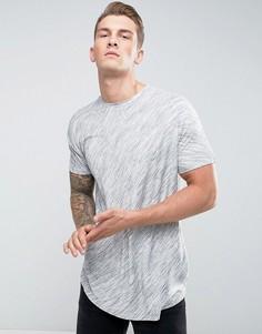 Удлиненная фактурная футболка с асимметричным подолом ASOS - Серый