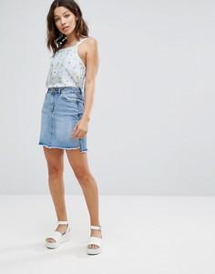 Двухцветная джинсовая юбка New Look - Синий