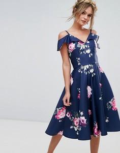 Платье миди с оборкой Chi Chi London - Мульти