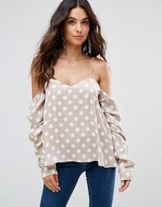 Блузка в горошек с открытыми плечами Isla - Розовый