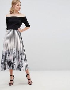 Платье миди с плиссированной юбкой и принтом Coast Mirabeau - Мульти
