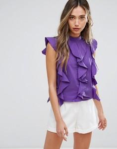 Топ с высоким воротом и рюшами Pearl - Фиолетовый
