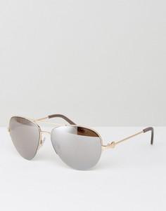 Солнцезащитные очки-авиаторы в металлической оправе с зеркальными стеклами Kurt Geiger - Золотой