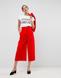 Однотонная юбка-брюки с поясом и крупной D-образной пряжкой ASOS - Красный
