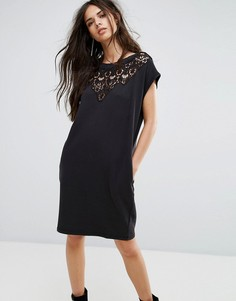 Трикотажное платье с кружевной вставкой Diesel - Черный