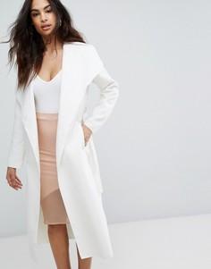 Легкое пальто с каскадной драпировкой Boohoo - Кремовый