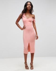 Асимметричное платье миди со спущенными плечами ASOS - Мульти