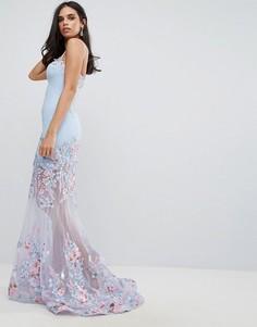 Платье макси с вырезом сердечком и цветочным принтом Forever Unique - Синий
