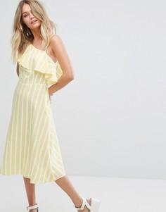 Платье миди на одно плечо с оборкой New Look - Желтый