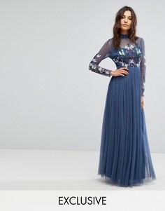 Декорированное платье макси с длинными рукавами и воротником-стойкой Maya - Темно-синий