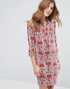 Цельнокройное платье с принтом и рукавами 3/4 Lavand - Красный