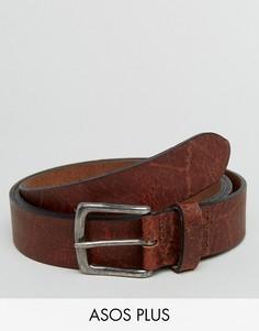Широкий кожаный ремень с винтажной отделкой ASOS PLUS - Коричневый