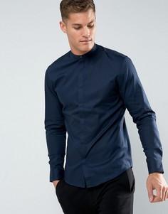 Приталенная рубашка с воротником на пуговице Selected Homme - Темно-синий