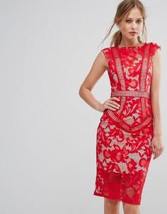 Кружевное платье миди Little Mistress - Красный