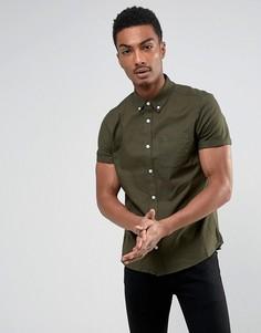 Оксфордская приталенная рубашка с короткими рукавами Burton Menswear - Зеленый
