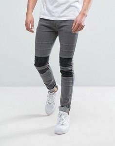 Супероблегающие джинсы стретч с отделкой в байкерском стиле на коленях Religion - Черный