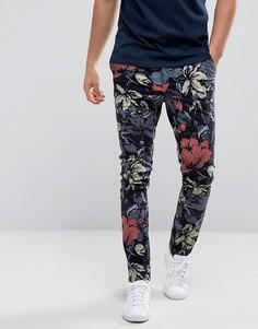 Супероблегающие брюки с цветочным принтом ASOS - Темно-синий