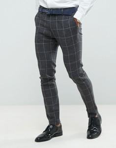Темно-серые супероблегающие брюки в решетчатую клетку ASOS - Серый
