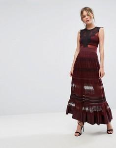 Кружевное платье макси с прозрачными вставками Three Floor - Красный