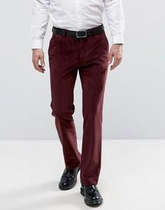 Бордовые прямые брюки с вельветовой отделкой ASOS - Красный
