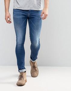 Синие выбеленные джинсы скинни Replay - Синий