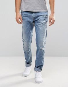 Светлые выбеленные джинсы скинни с рваной отделкой Diesel 0857F - Синий