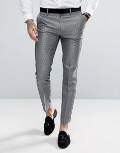 Серебристые брюки скинни с леопардовым принтом ASOS - Серебряный