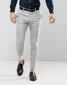 Светло-серые фактурные брюки скинни ASOS - Бежевый