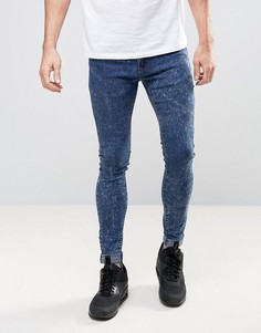 Супероблегающие джинсы с эффектом кислотной стирки Liquor & Poker - Синий