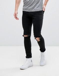 Черные джинсы скинни с рваными коленями Hoxton Denim - Черный