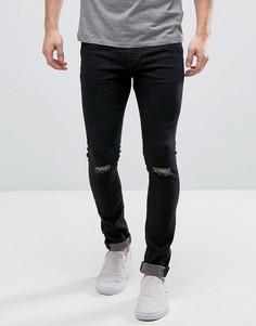 Черные джинсы суперскинни с рваными коленями Hoxton Denim - Черный