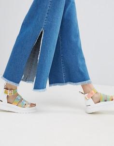 Широкие джинсы с разрезами по бокам и необработанным поясом ASOS - Синий