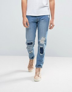 Синие зауженные джинсы в стиле пэтчворк Waven - Синий