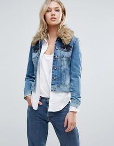 Джинсовая куртка с воротником из искусственного меха Only - Синий