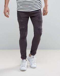 Зауженные байкерские джинсы на молниях Soul Star - Серый