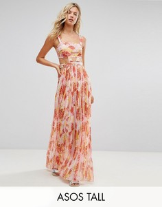 Розовое пляжное шифоновое платье с вырезами и пальмами ASOS TALL - Мульти