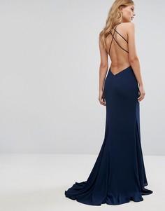Платье с бретельками и юбкой годе Fame and Partners - Темно-синий
